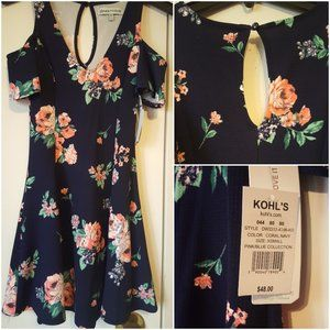 Almost Famous Brand Floral Navy Juniors Dress XS